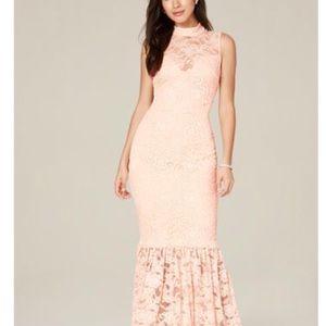 Bebe Mock Neck Lace Maxi Dress in Peach