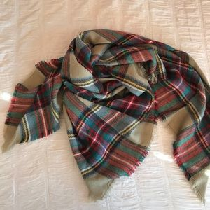 Fall colors - tan, red, green blanket scarf/wrap