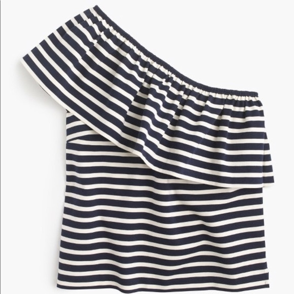 9a72cb0cbf0c6e J.crew One-shoulder top in stripes. Size XL. NWT