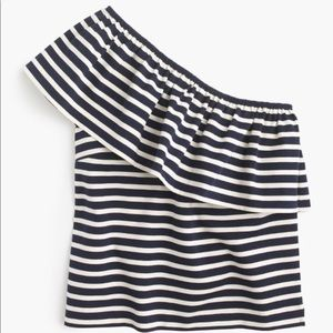 J.crew One-shoulder top in stripes. Size XL. NWT