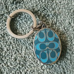 COACH Blue Signature Locket Keychain