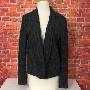 Ann Taylor loft black gray striped blazer L