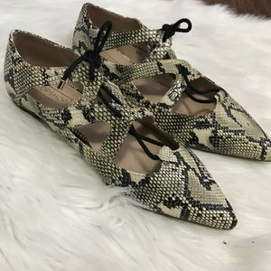 Topshop Snake print pointed flats