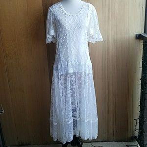Vintage handmade lace sheer dress