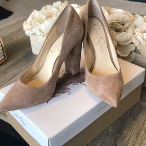 ae250dd6a97 Jessica Simpson Shoes - Jessica Simpson Belemo Nude Suede Pumps
