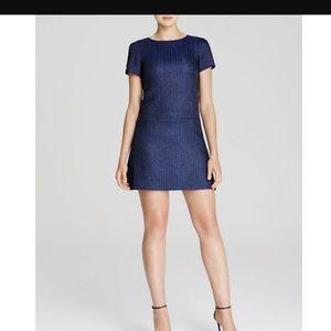 ALICE + OLIVIA Blue Liv Drop Waist Shift Dress 4