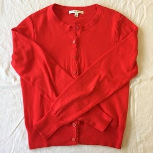 .CAbi. Red long-sleeved cardigan with lace