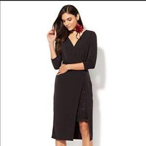 NY & CO Black 3/4 sleeve wrap dress sz small