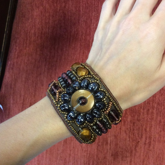 Anthropologie Jewelry - 💫Erica Lyons Tribal Bohemian Bead Snap Cuff Thick
