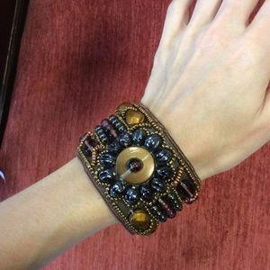💫Erica Lyons Tribal Bohemian Bead Snap Cuff Thick