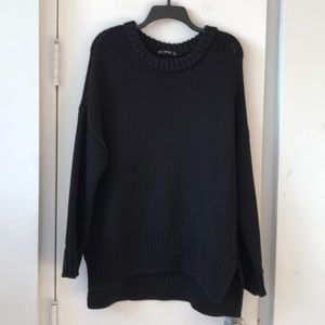 Zara SZ M Black Crewneck Oversized Knit Sweater