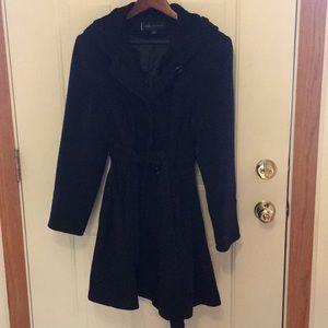 Ann Klein lined & hooded black wool coat