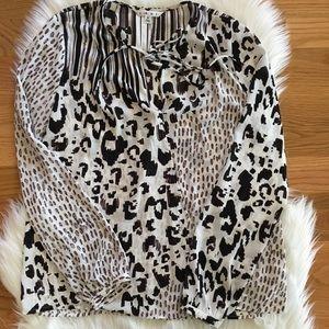 CAbi Long Sleeve Cheetah Print Blouse