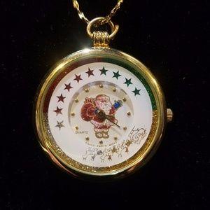 womens pendant santa necklace watch