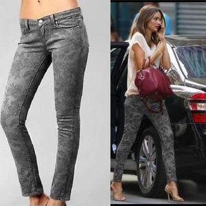 Paige Denim Floral Gray Skinny Jeans