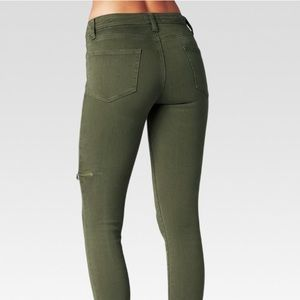 Paige olive green zip jeans
