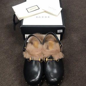 Gucci furry clog
