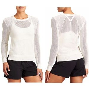 Athleta | White Mesh Pullover Sweater Size XS