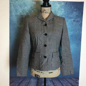 LOFT Ann Taylor Gray buttons Wool Blazer Pocket