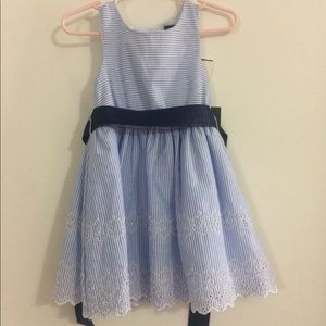 Blue and white eyelet trim dress