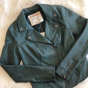 NWT [cartonnier] green vegan leather jacket