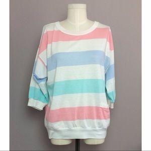 Vintage Pastel Stripe Dolman Shirt with Pocket