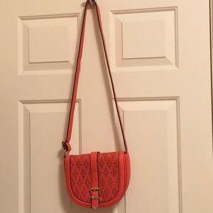 Crossbody bag saddle style hot coral  like new