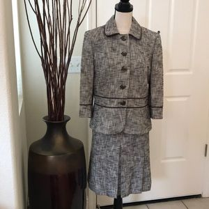 Ann Taylor LOFT brown and beige tweed suit