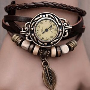 Quartz Brown Leather Leaf Bracelet Watch