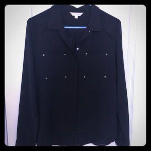 Black button down sheer dress shirt