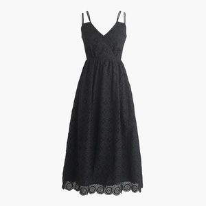 JCrew Embroidered Double-Strap Black Dress