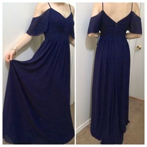 Lulu's Navy Off The Shoulder Maxi Dress