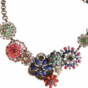 J. Crew Multicolored Flower lattice neckalce