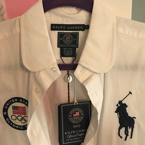 United States Olympic Ralph Lauren button shit