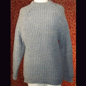 Gray tweed heavy cold weather sweater L