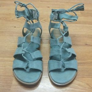EUC Old Navy Suede Teal Gladiator Sandals Sz. 7