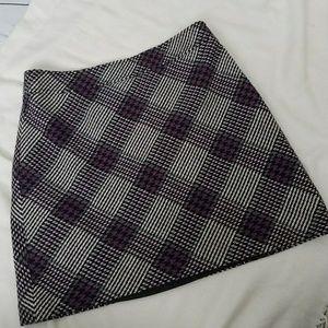 Loft wool skirt plaid houndstooth purple black 8P