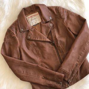 NWOT [cartonnier] cognac vegan leather jacket