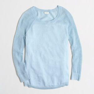 J.Crew Factory Merino Mesh-Sleeve Sweater