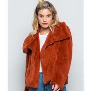 🆕Vanessa Rust Brown Faux Fur Jacket