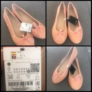 Zara flats in a soft pink color brand new!