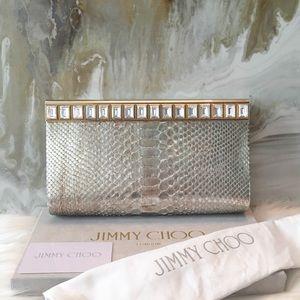 $3295 Jimmy Choo Gold Python Crystal Cayla Clutch