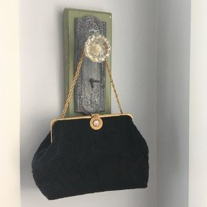 Vintage black seed bead purse with sparkle accent