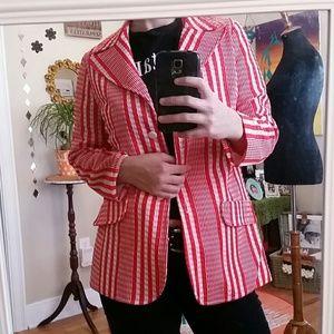 VTG Red & White Striped/Checkered Jacket!♡
