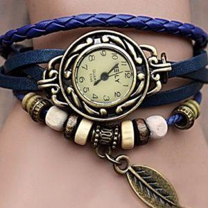 Quartz Blue Leather Leaf Bracelet Watch