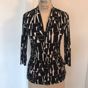 Vince Camuto Aztec Printed Ruched Blouse
