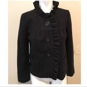 J.crew 100% wool coat black size 0 women's