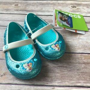 NWT Toddler Girl Frozen Crocs Shoe Sandal glitter