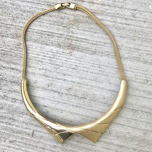 Vintage GOLD COLLAR necklace Peter Pan choker