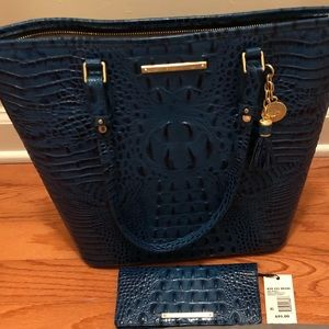 Brahmin Asher & Wallet Palace Blue Melbourne NWT